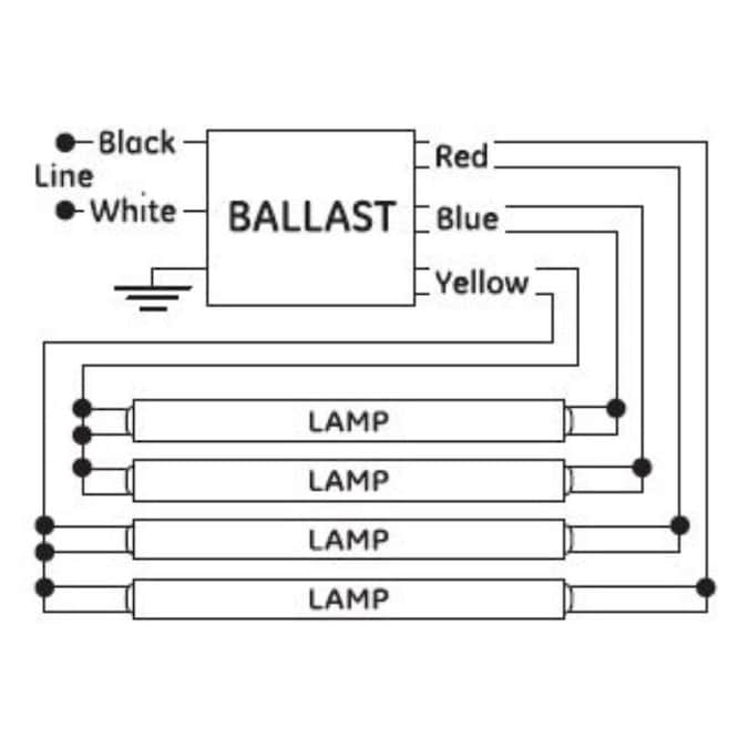 GE 4-Bulb Residential Electronic Fluorescent Light Ballast in the Ballasts  department at Lowes.com | Ge T8 Ballast Wiring Diagram |  | Lowe's