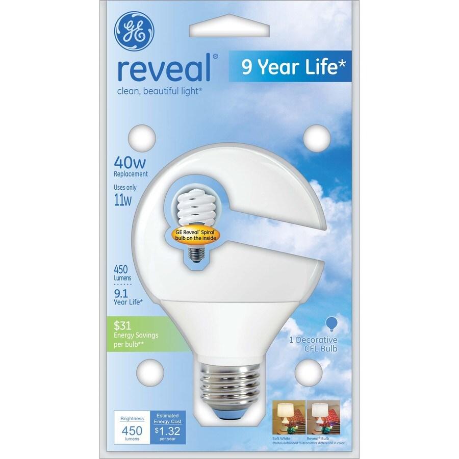 GE 11-Watt (40W Equivalent) 2,700K G25 Medium (E-26) Base Color-Enhancing Decorative CFL Bulb