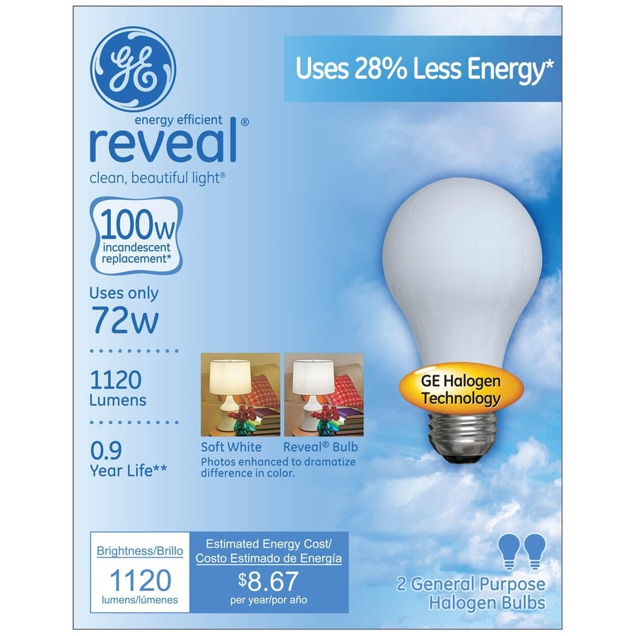 GE 2-Pack 72-Watt A19 Base Color-Enhancing Dimmable for Indoor Halogen Light Bulbs