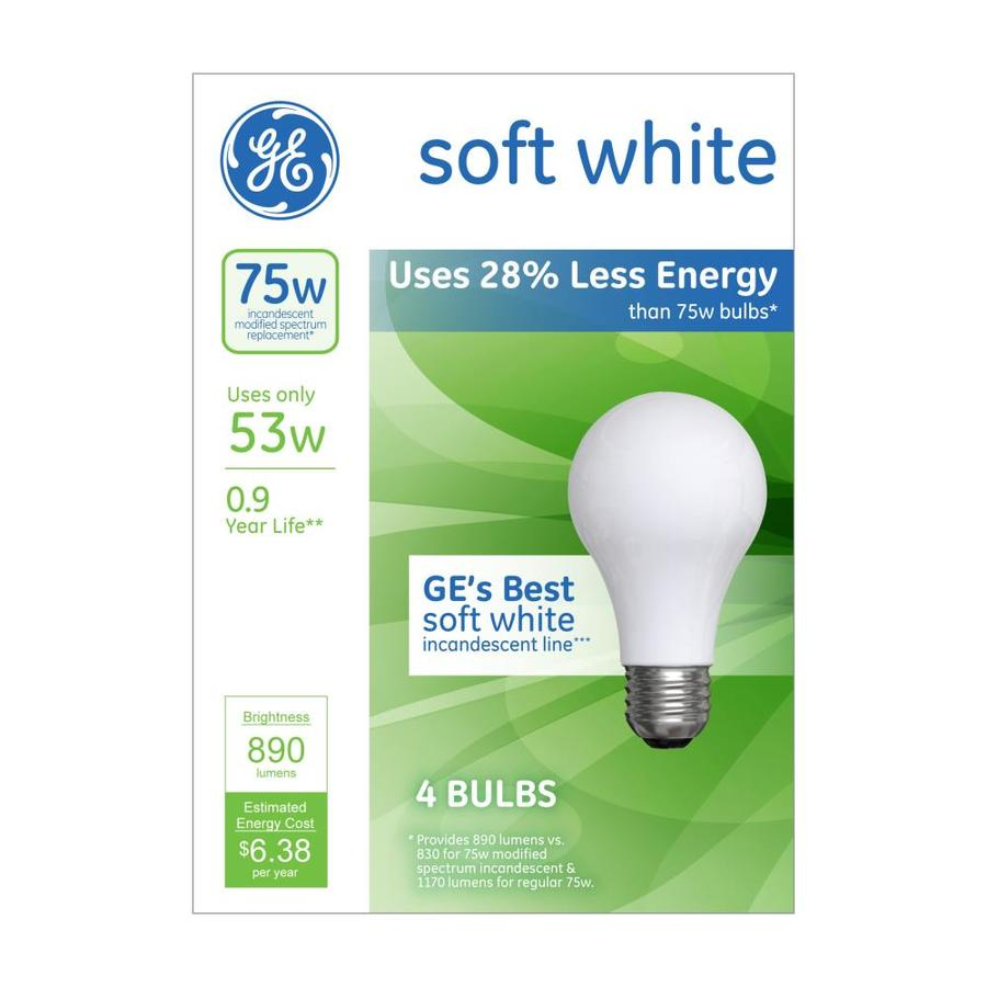 GE 4-Pack 53-Watt (75W Equivalent) A19 Medium Base (E-26) Bright White Dimmable for Indoor Halogen Light Bulbs