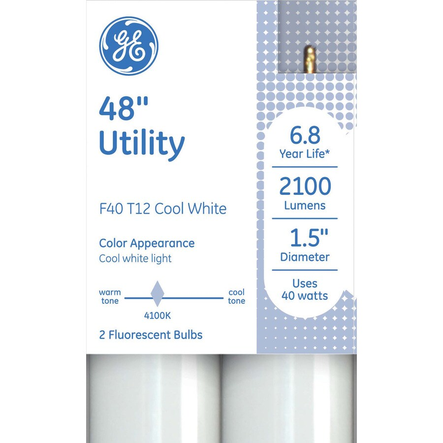 GE 2-Pack 40-Watt 4,100K Cool White Fluorescent Tube Light Bulbs (Common: 48-in; Actual: 48-in)