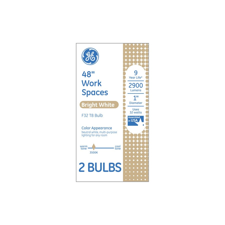 GE 2-Pack 32-Watt 3,500K Bright White Fluorescent Tube Light Bulbs (Common: 48-in; Actual: 48-in)
