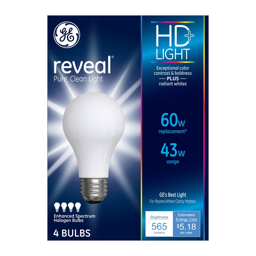 GE Reveal 4-Pack Reveal 43-Watt (60W Equivalent) A19 Medium Base (E-26) Color-Enhancing Dimmable for Indoor Halogen Light Bulbs