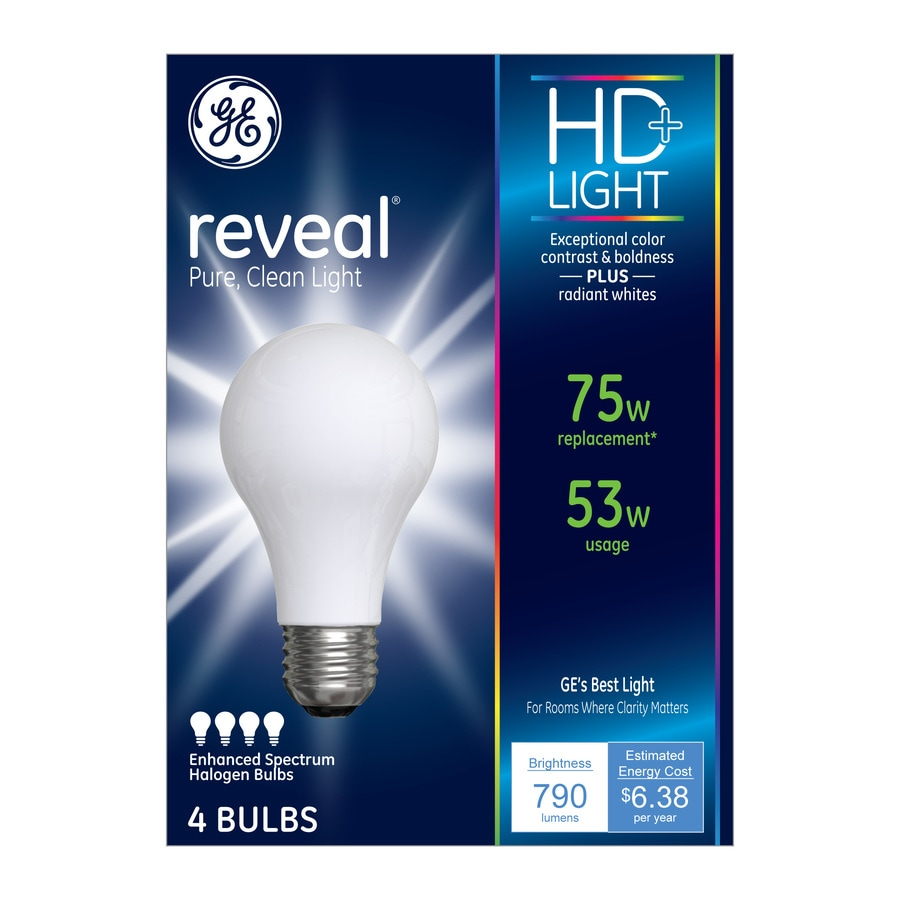 GE Reveal 4-Pack Reveal 53-Watt (75W Equivalent) A19 Medium Base (E-26) Color-Enhancing Dimmable for Indoor Halogen Light Bulbs