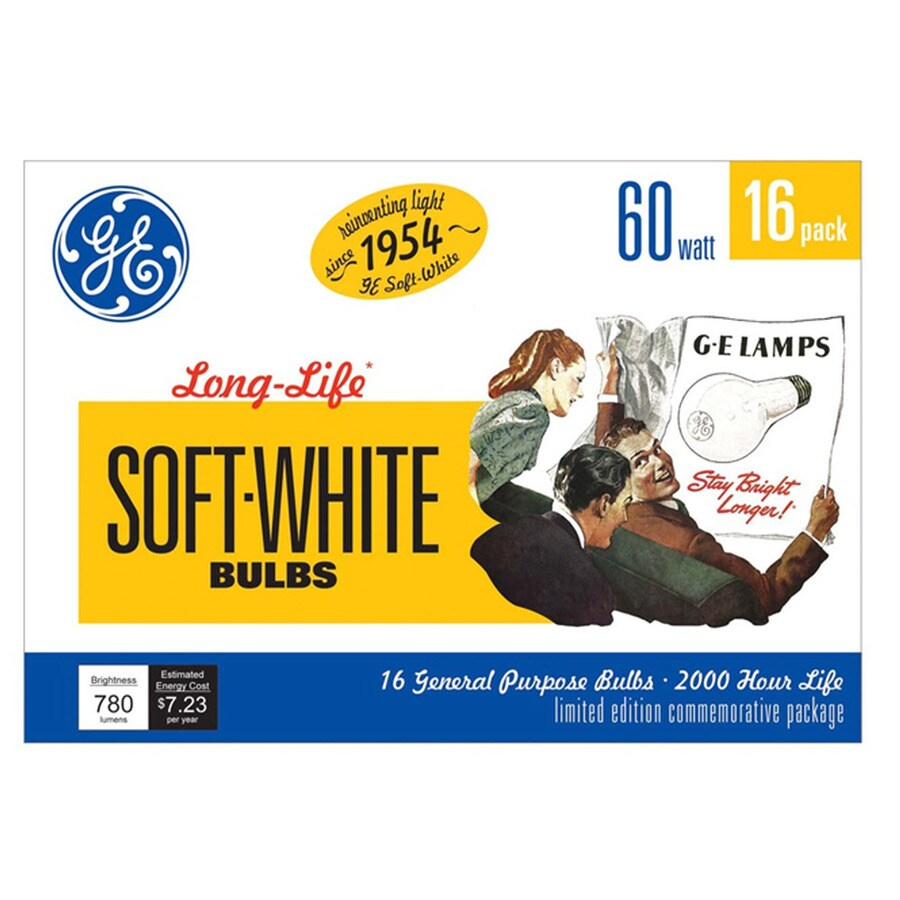 GE 16-Pack 60-Watt A19 Medium Base (E-26) Soft White Dimmable Incandescent Light Bulbs