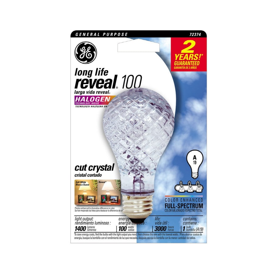 GE 100-Watt A19 Base Color-Enhancing Dimmable for Outdoor Use Halogen Light Bulb