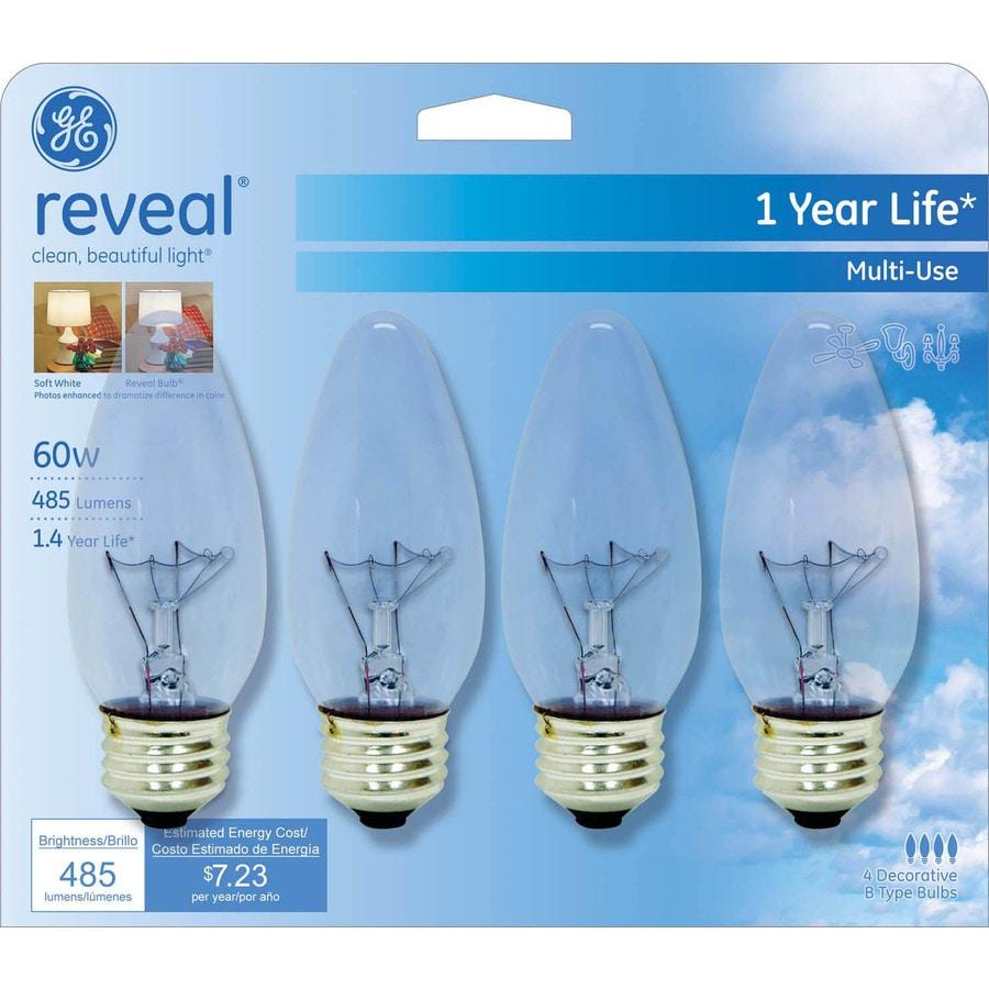 GE 4-Pack 60-Watt Medium Base (E-26) Color-Enhancing Dimmable Decorative Incandescent Light Bulbs