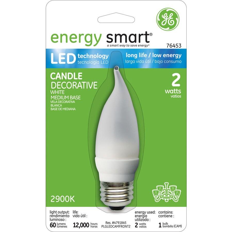 GE 2-Watt (10W) B Medium Base Soft White (3000K) Decorative LED Bulb