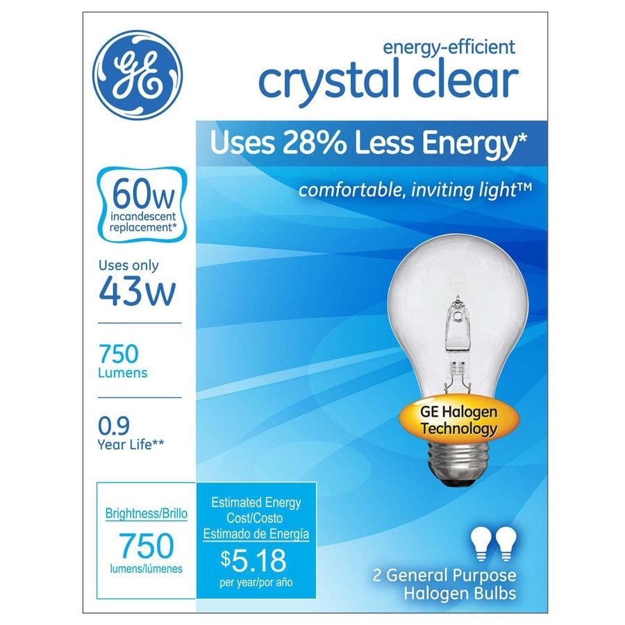 GE 2-Pack 43-Watt A19 Base Bright White Dimmable for Indoor Halogen Light Bulbs
