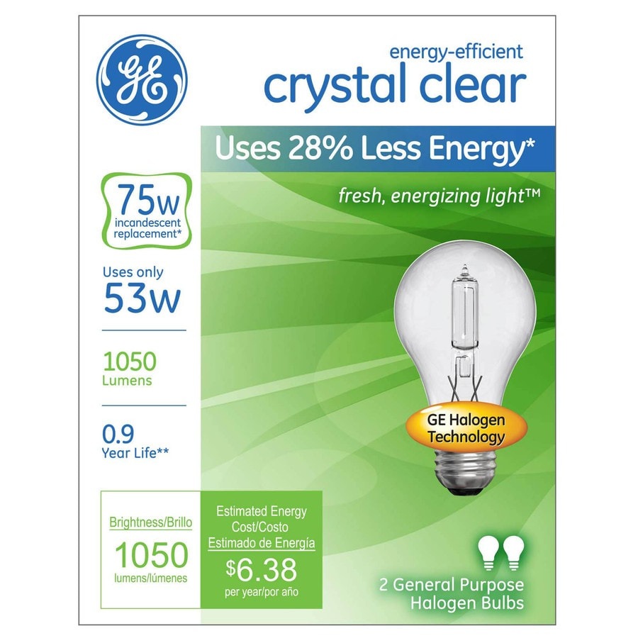 GE 2-Pack 53-Watt A19 Base Bright White Dimmable for Indoor Halogen Light Bulbs