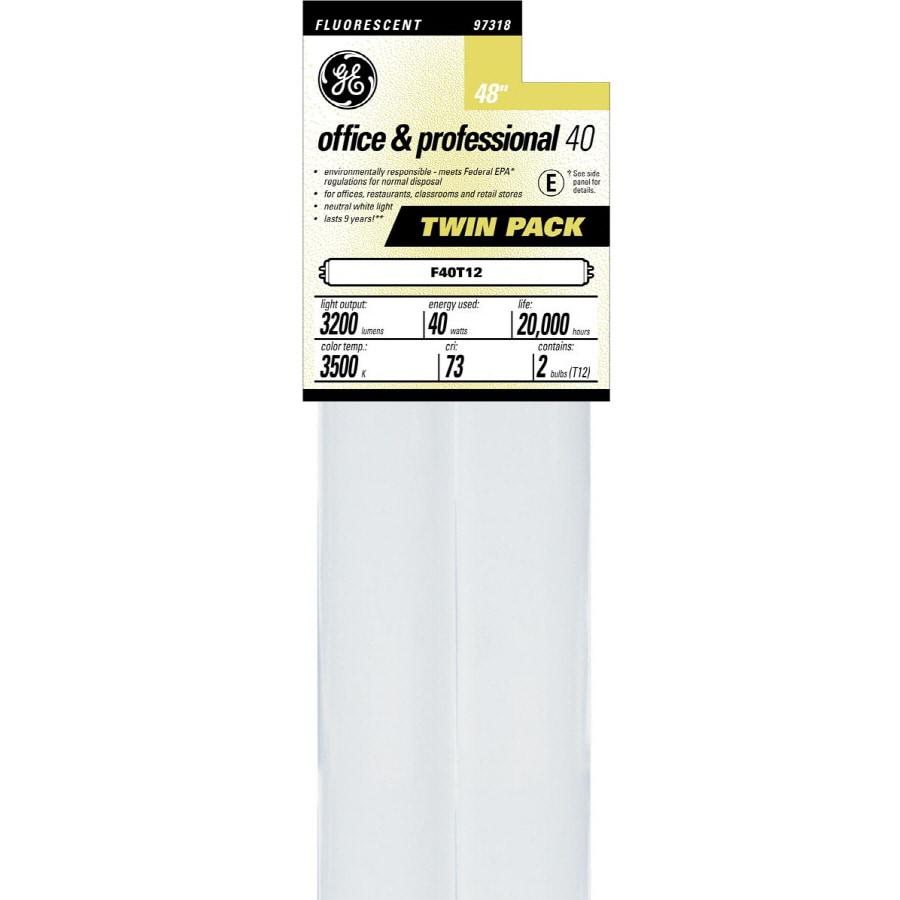 GE 2-Pack 40-Watt 3,500K Bright White Fluorescent Tube Light Bulbs (Common: 48-in; Actual: 48-in)