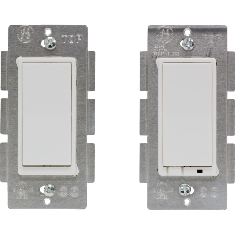 GE Double Pole White Light Switch