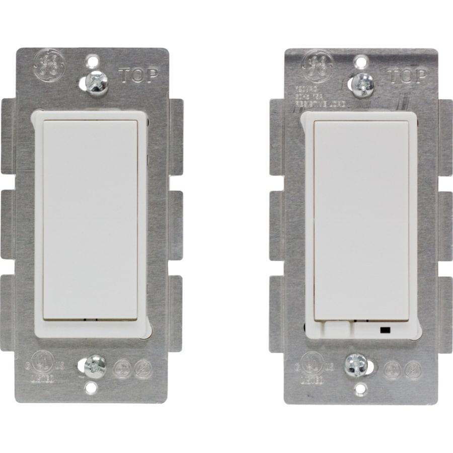 GE 2-Piece 15-Amp White 3-Way Decorator Light Switch
