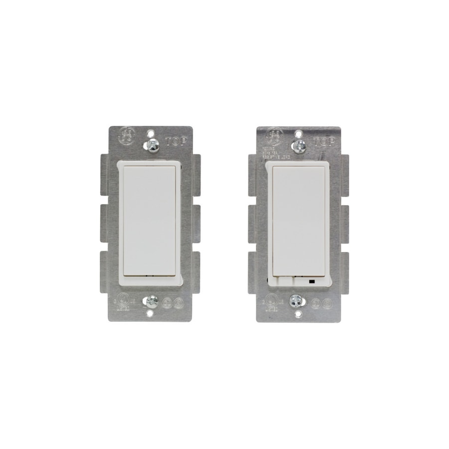 GE 2-Pack 3-Way Single Pole White Light Switches