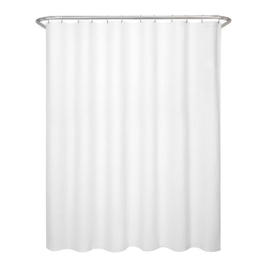 allen + roth Polyester White Waffle Patterned Shower Curtain