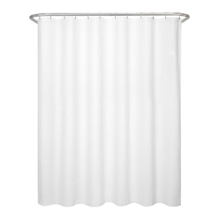 Shop Allen Roth Polyester White Waffle Patterned Shower Curtain At
