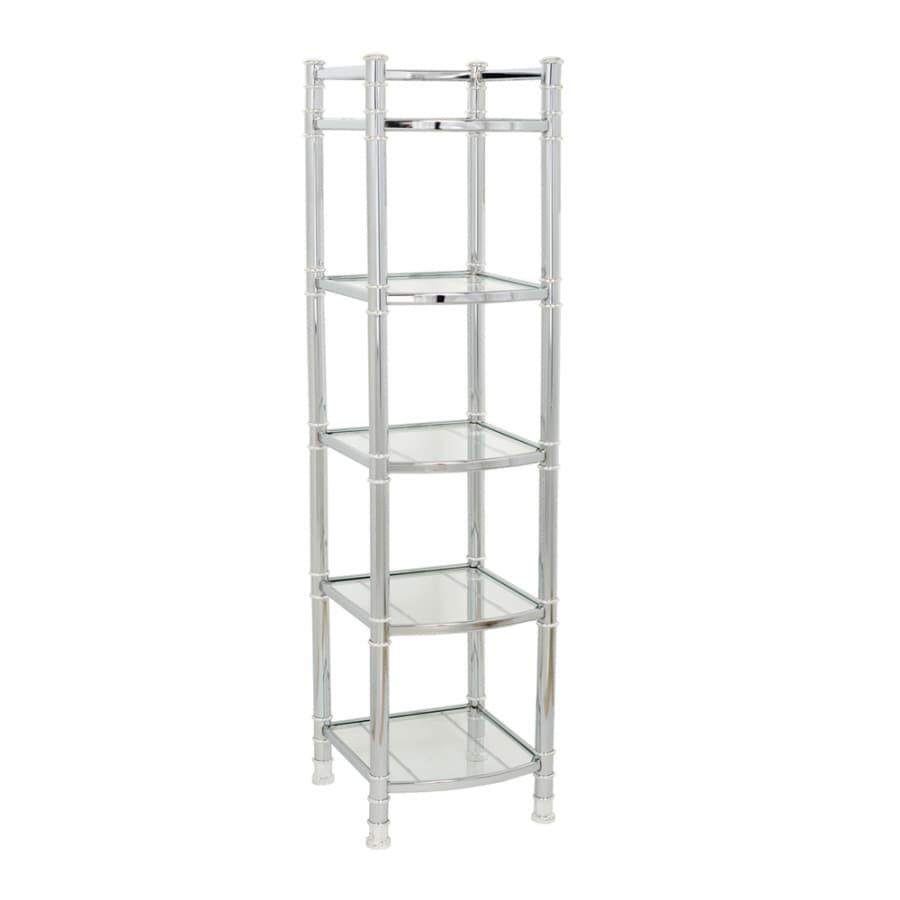 allen + roth 14.6-in W x 51-in H x 13.6-in D Metal and Glass Linen Cabinet