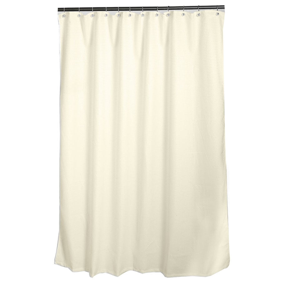 allen + roth Polyester Ivory Waffle Patterned Shower Curtain