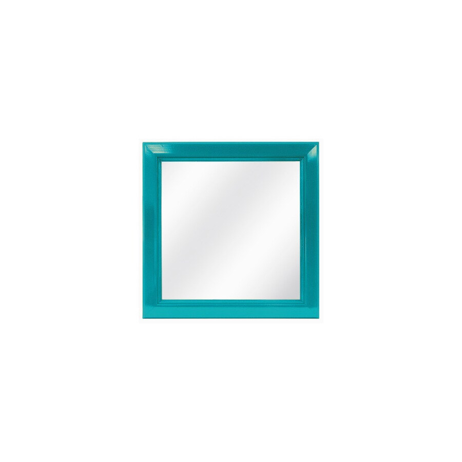 Shop style selections teal square framed wall mirror at for Teal framed mirror
