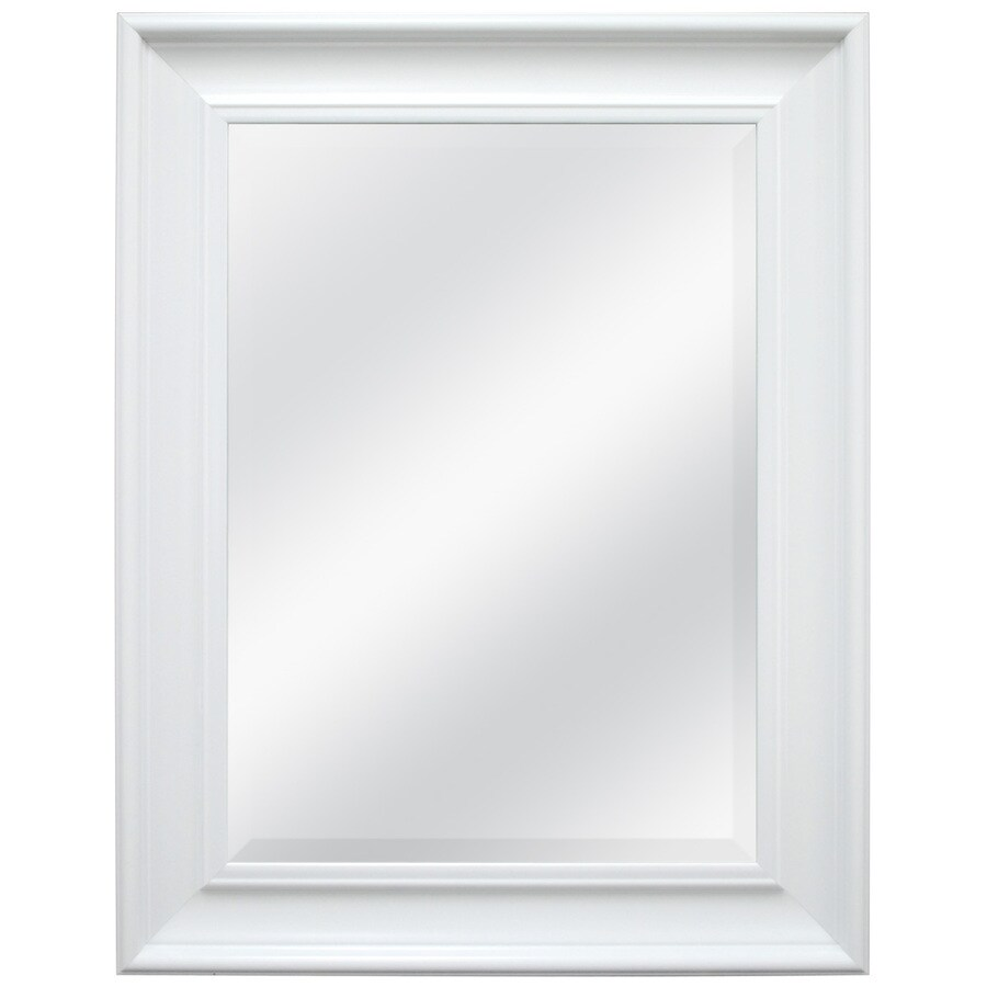 Style Selections 21.5-in x 27.5-in White Beveled Rectangle Framed French Wall Mirror