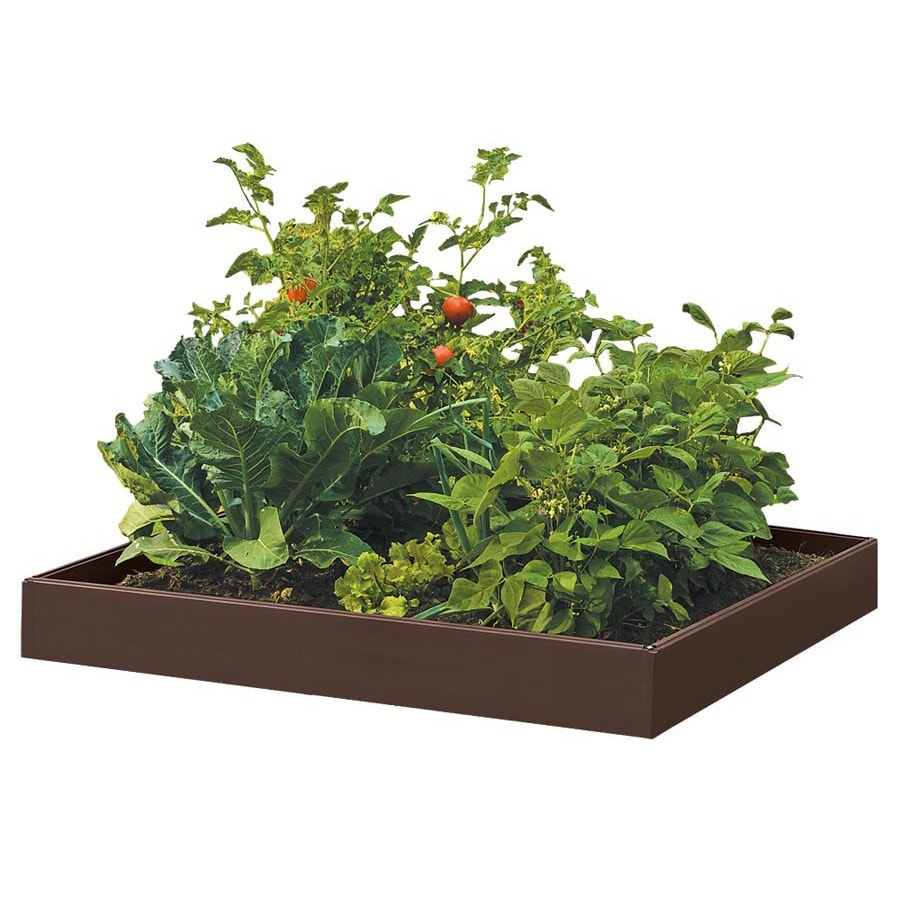 Suncast 46-in W x 46-in L x 5.5-in H Brown Resin Raised Garden Bed