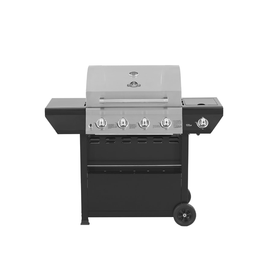 Grill Master Stainless Steel and Black 4-Burner (48,000-BTU) Liquid Propane Gas Grill with Side Burner