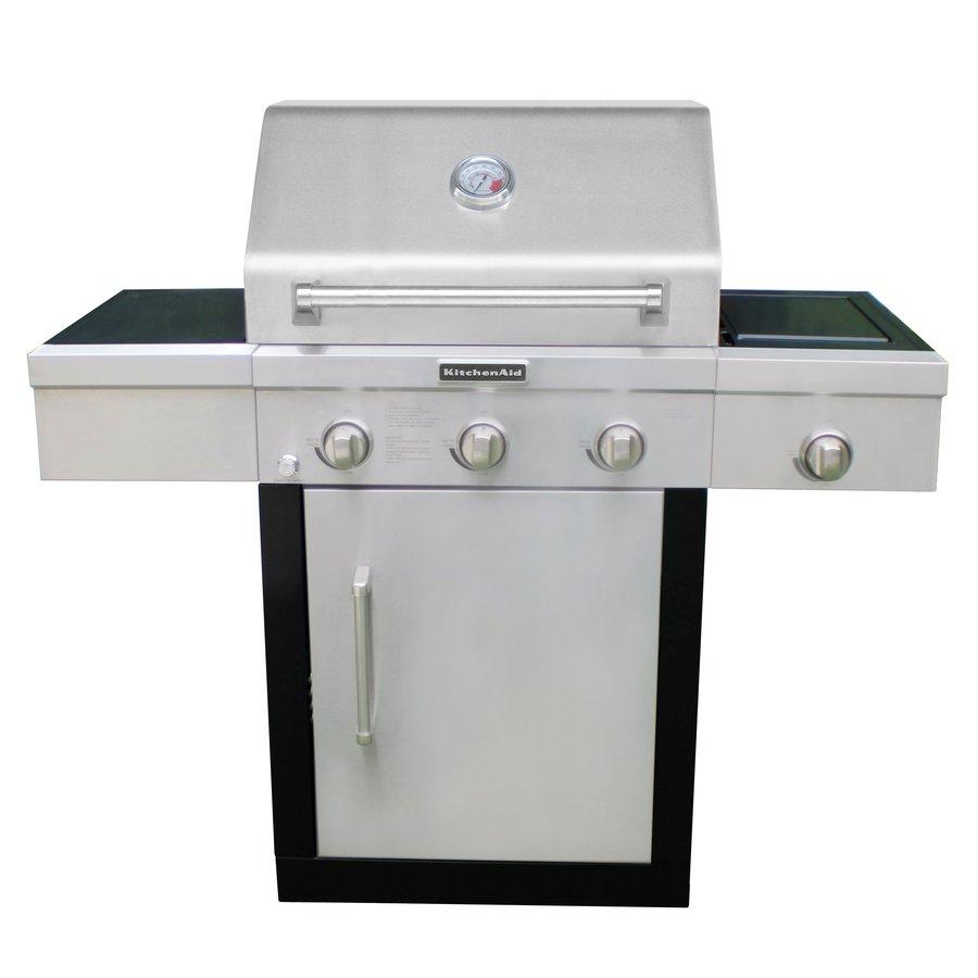 KitchenAid Stainless Steel and Black Powder Coating 3-Burner (10000 BTU) Liquid Propane Gas Grill
