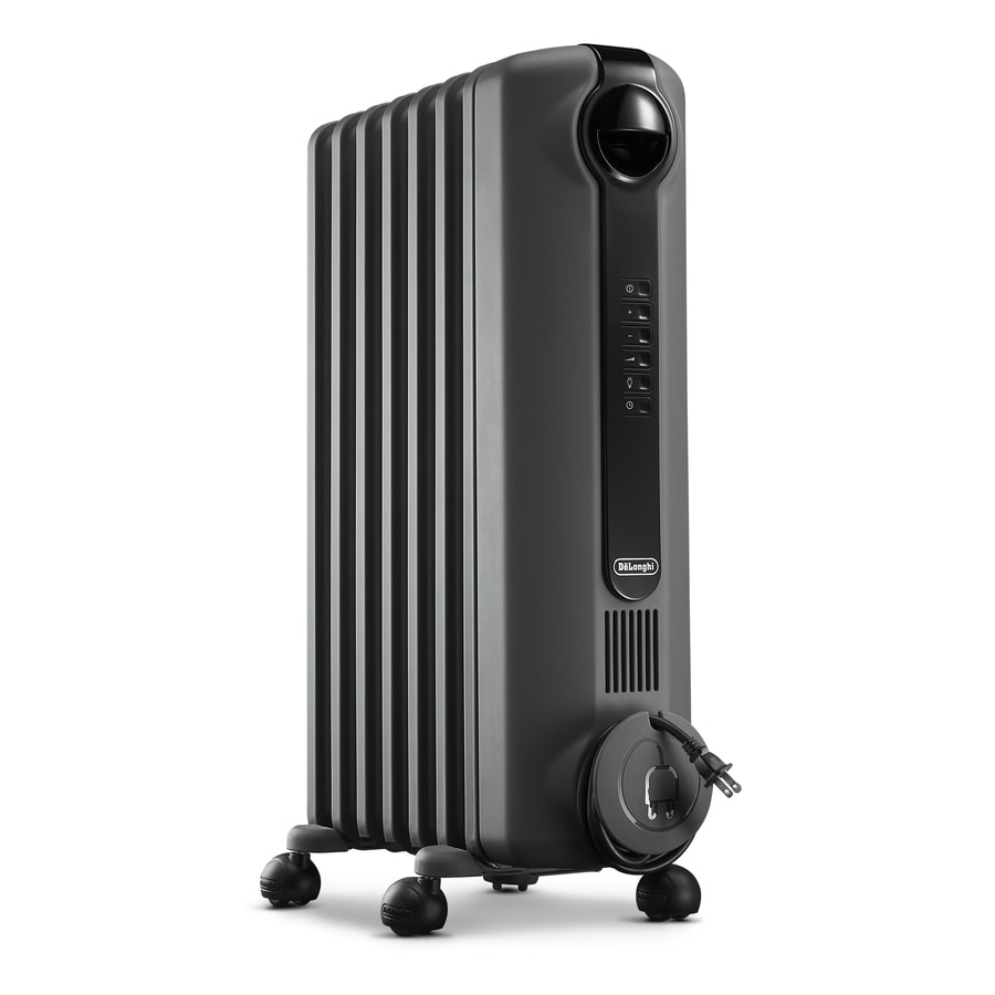 DeLonghi 5,120-BTU Oil-Filled Radiant Compact Personal Electric Space Heater with Thermostat and Energy Saving Setting