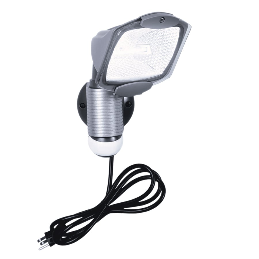 Plug In Exterior Wall Lights : Shop All-Pro 110-Degree 1-Head Gray Halogen Motion-Activated Flood Light Timer Included at Lowes.com