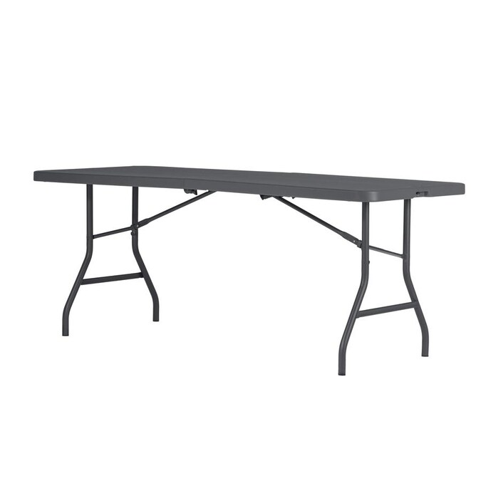 Cosco 72-in x 29.6-in Rectangle Resin Gray Folding Table ...