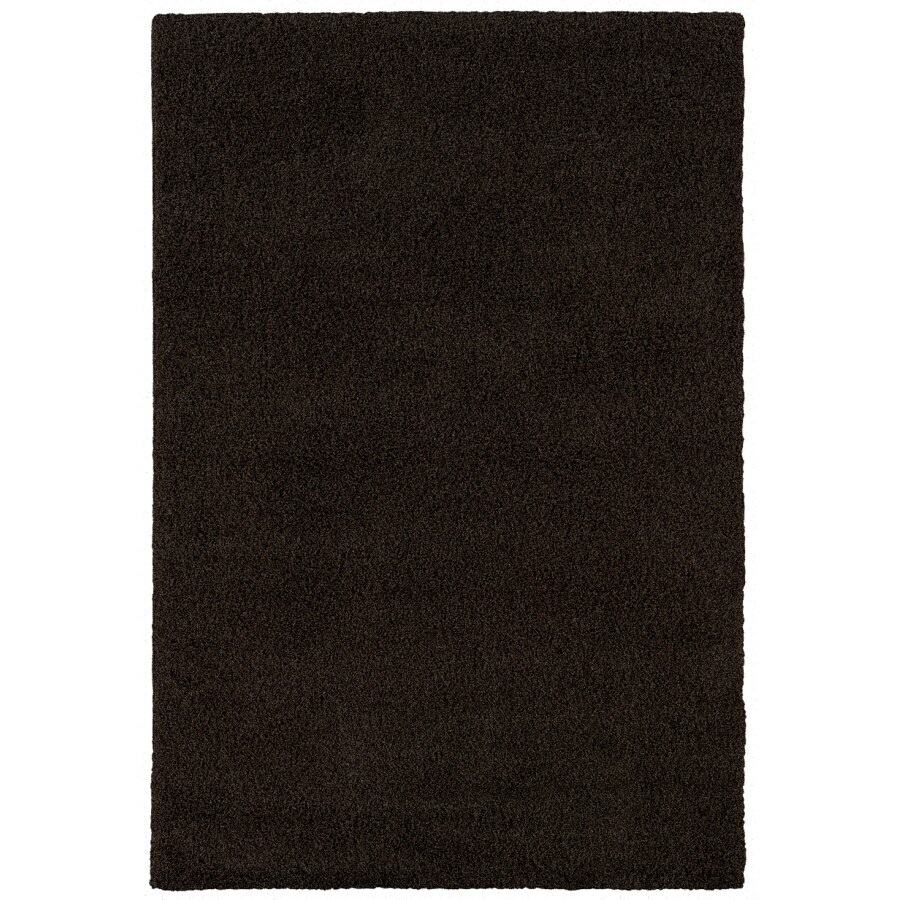 Shaw Living Shaggedy Shag Rectangular Black Solid Area Rug (Common: 5-ft x 8-ft; Actual: 5-ft x 7-ft)