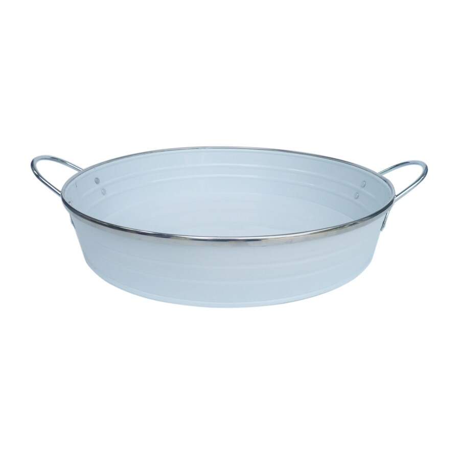Style Selections 15.75-in x 13-in White Coating Powder-Coated Galvanized Iron Round Serving Tray