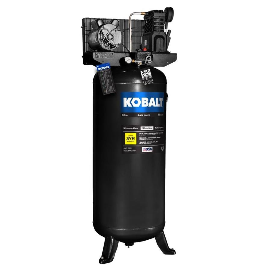 Kobalt 3.7-HP 60-Gallon 155-PSI 230-Volt Vertical Stationary Electric Air Compressor