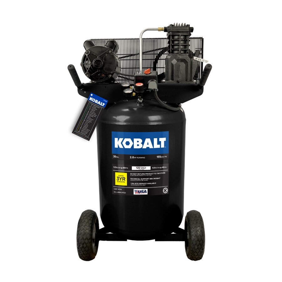 Kobalt 2-HP 30-Gallon 155-PSI 120240-Volt Vertical Portable Electric Air Compressor