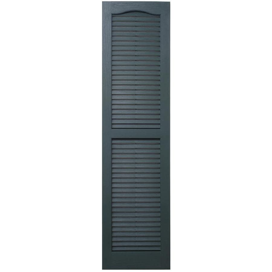Severe Weather 2-Pack Heritage Green Louvered Vinyl Exterior Shutters (Common: 15-in x 25-in; Actual: 14.5-in x 24.5-in)