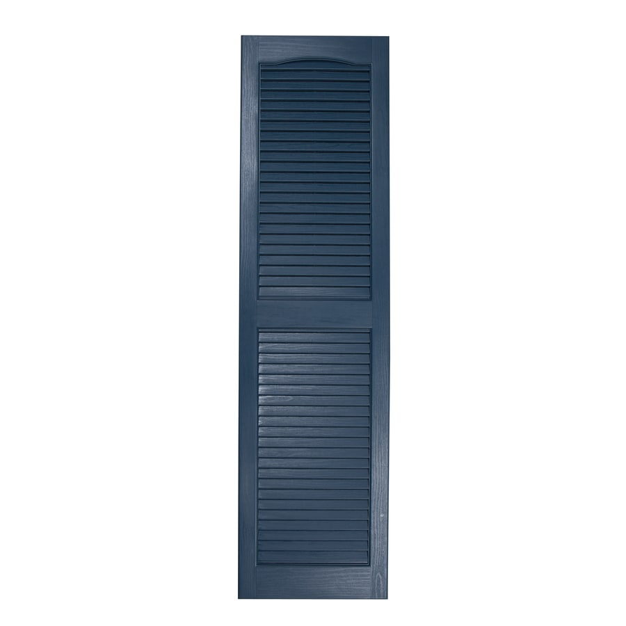 Severe Weather 2-Pack Midnight Blue Louvered Vinyl Exterior Shutters (Common: 15-in x 43-in; Actual: 14.5-in x 42.5-in)