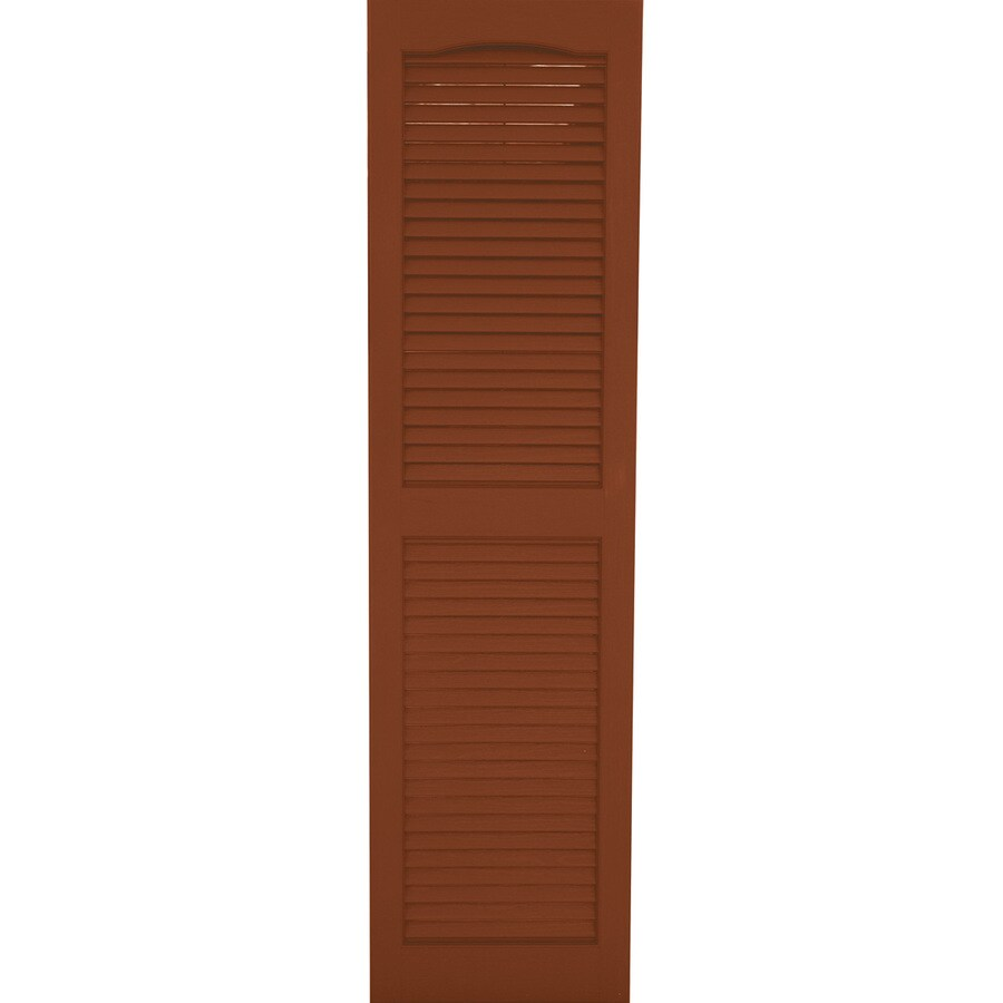 Severe Weather 2-Pack Earthen Red Louvered Vinyl Exterior Shutters (Common: 15-in x 43-in; Actual: 14.5-in x 42.5-in)