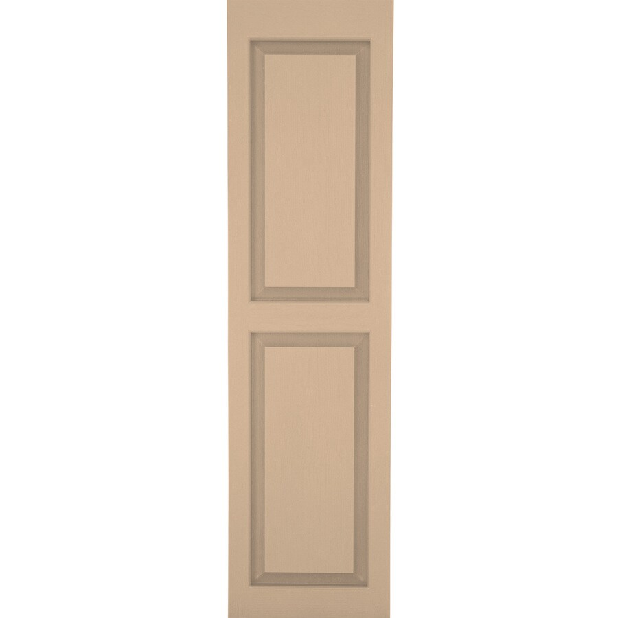 Severe Weather 2-Pack Sandstone Raised Panel Vinyl Exterior Shutters (Common: 15-in x 35-in; Actual: 14.5-in x 34.5-in)