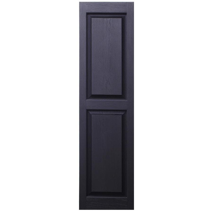 Severe Weather 2-Pack Black Raised Panel Vinyl Exterior Shutters (Common: 15-in x 43-in; Actual: 14.5-in x 42.5-in)