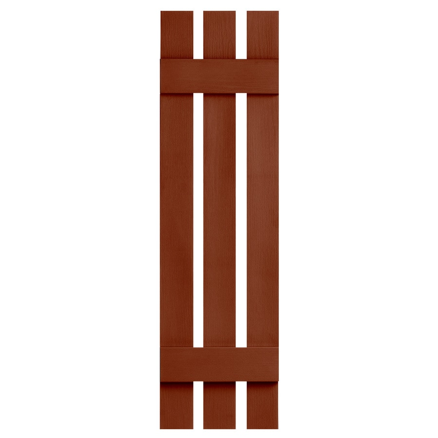 Severe Weather 2-Pack Earthen Red Board and Batten Vinyl Exterior Shutters (Common: 12-in x 47-in; Actual: 12.38-in x 47-in)