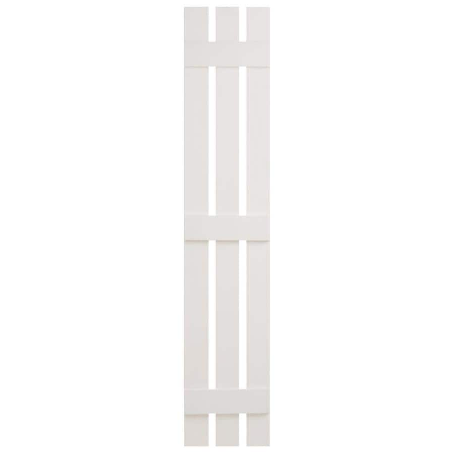 Severe Weather 2-Pack White Board and Batten Vinyl Exterior Shutters (Common: 12-in x 59-in; Actual: 12.38-in x 59-in)