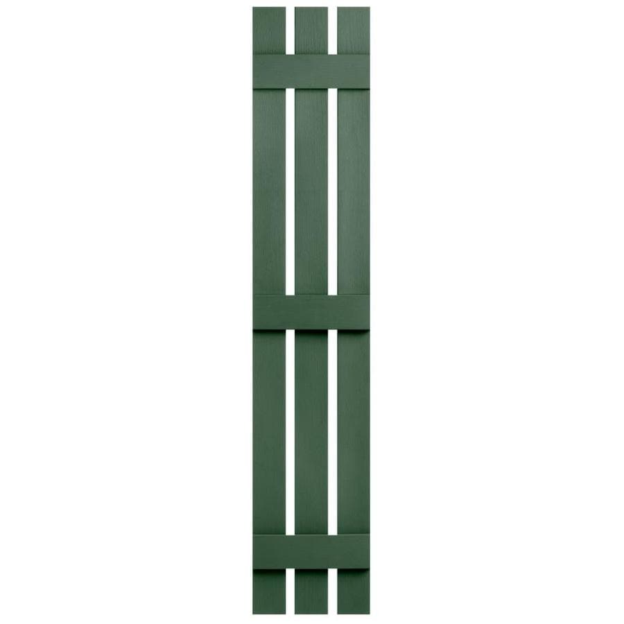Severe Weather 2-Pack Heritage Green Board and Batten Vinyl Exterior Shutters (Common: 12-in x 59-in; Actual: 12.38-in x 59-in)