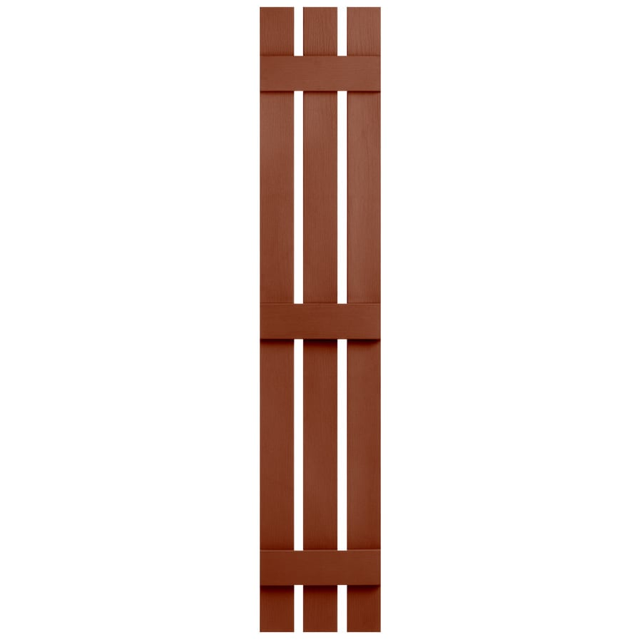 Severe Weather 2-Pack Earthen Red Board and Batten Vinyl Exterior Shutters (Common: 12-in x 63-in; Actual: 12.38-in x 63-in)