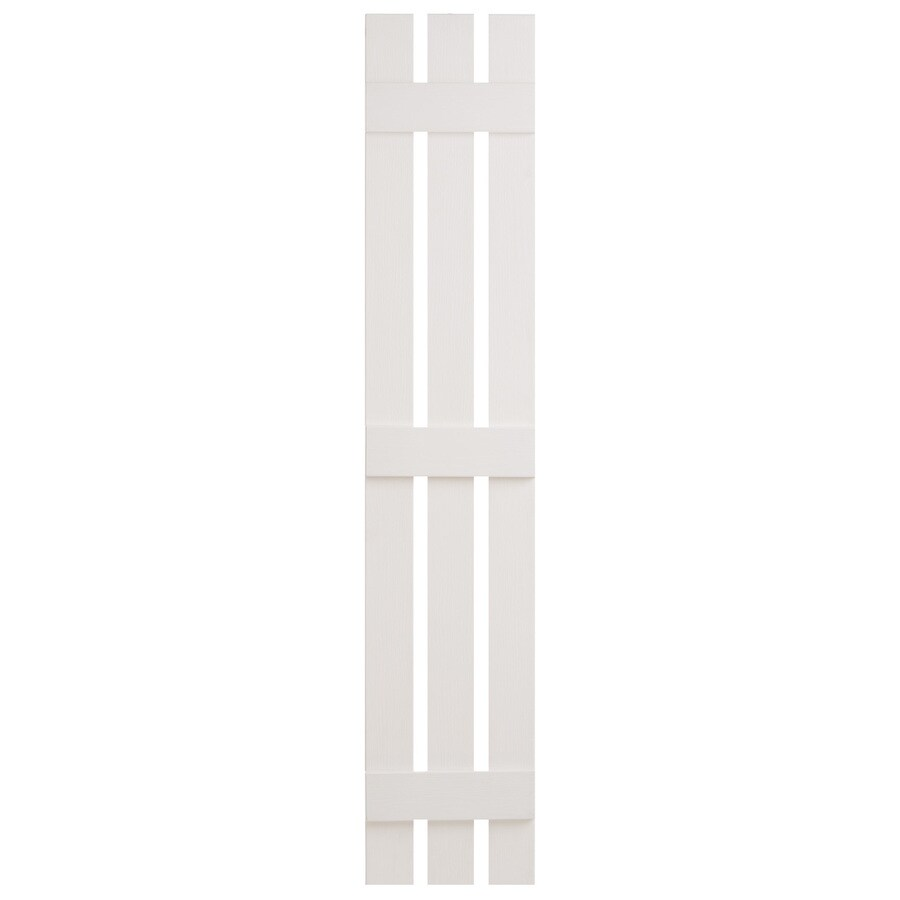Severe Weather 2-Pack White Board and Batten Vinyl Exterior Shutters (Common: 12-in x 81-in; Actual: 12.38-in x 81-in)