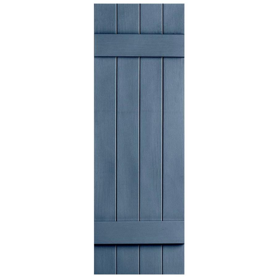 Severe Weather 2-Pack Midnight Blue Board and Batten Vinyl Exterior Shutters (Common: 14-in x 55-in; Actual: 14.31-in x 55-in)