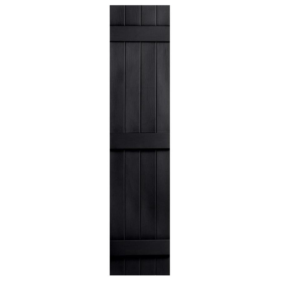 Severe Weather 2-Pack Black Board and Batten Vinyl Exterior Shutters (Common: 14-in x 71-in; Actual: 14.31-in x 71-in)