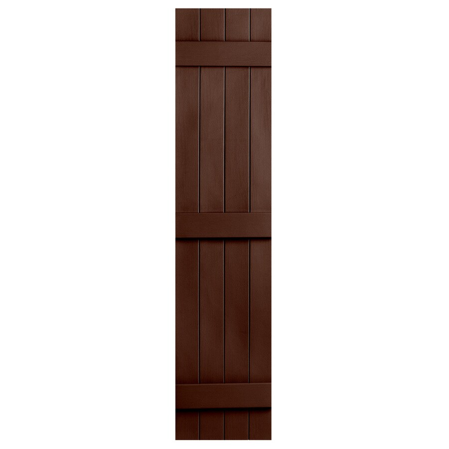 Severe Weather 2-Pack Brown Board and Batten Vinyl Exterior Shutters (Common: 14-in x 75-in; Actual: 14.31-in x 75-in)