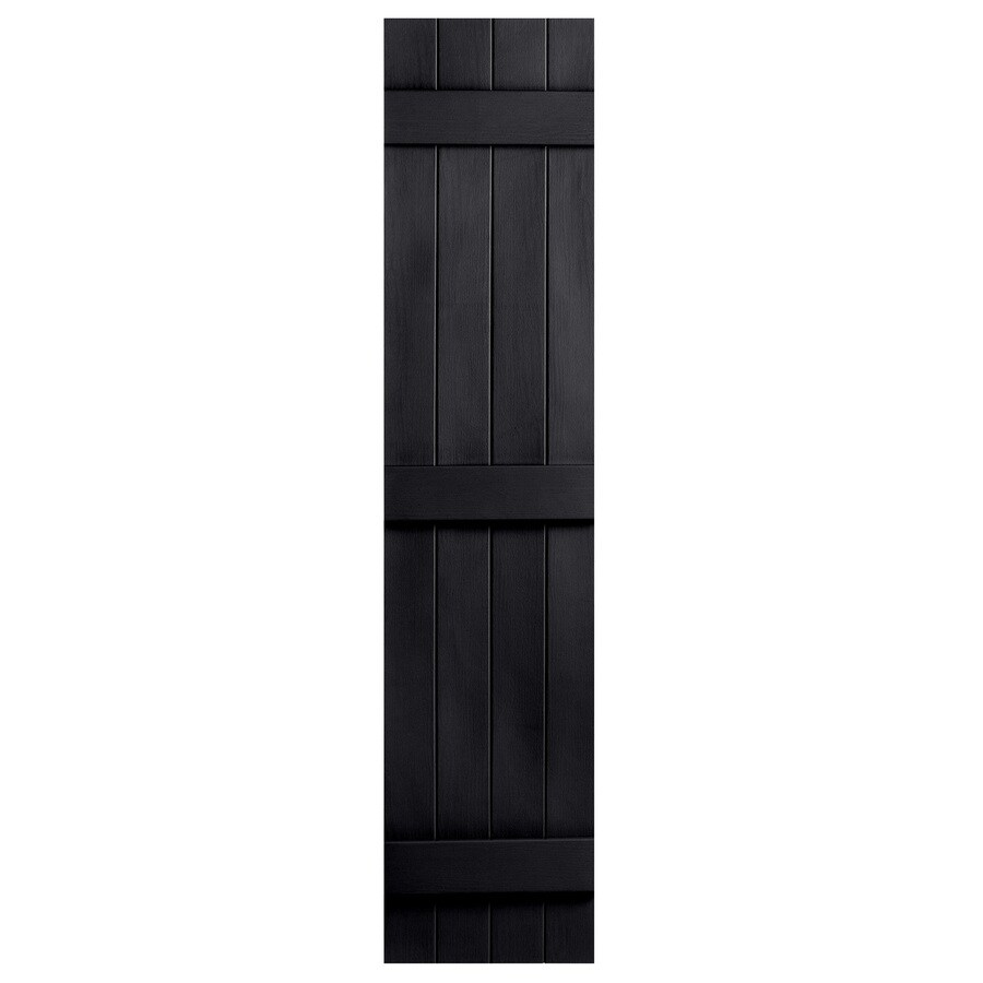 Severe Weather 2-Pack Black Board and Batten Vinyl Exterior Shutters (Common: 14-in x 75-in; Actual: 14.31-in x 75-in)