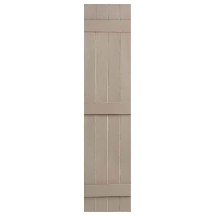 Severe Weather 2-Pack Sandstone Board and Batten Vinyl Exterior Shutters (Common: 14-in x 81-in; Actual: 14.31-in x 81-in)