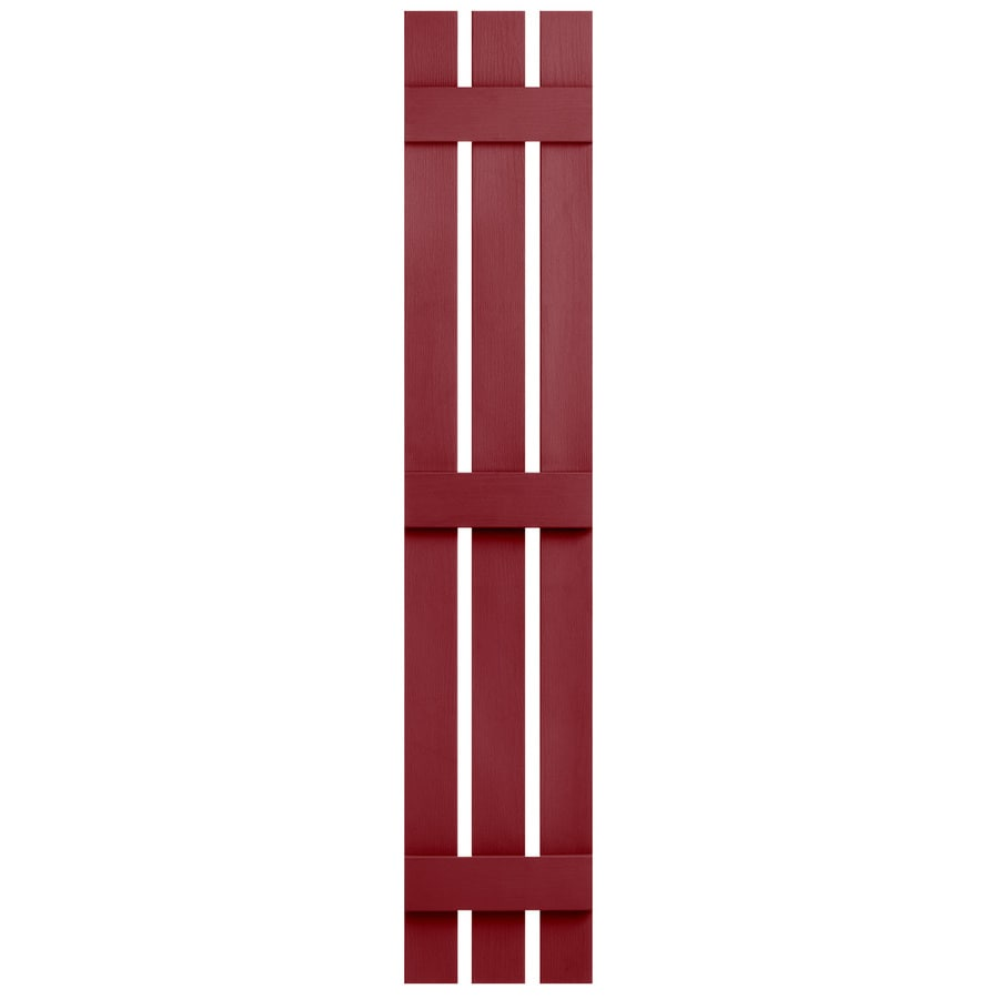 Severe Weather 2-Pack Cranberry Board and Batten Vinyl Exterior Shutters (Common: 12-in x 55-in; Actual: 12.38-in x 55-in)